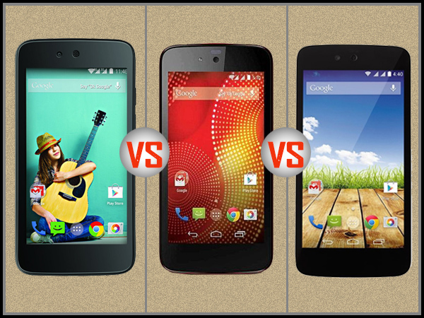 Spice Dream Uno Vs Karbonn Sparkle V Red Vs Micromax Canvas A1