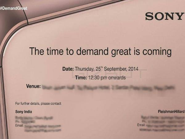 Sony Sends Out Invite for Sept 25 Event in India: Xperia Z3 Coming?