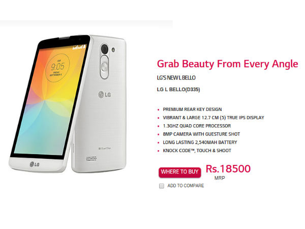 LG L Bello Listed on Official India Website With Rs 18,500 Price-Tag