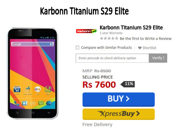 Karbonn Titanium S29 Elite With 5.4-Inch Display Available At Rs 7600