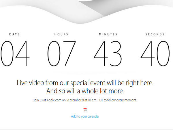 Apple To Live Stream September 9 Event: Countdown Begins