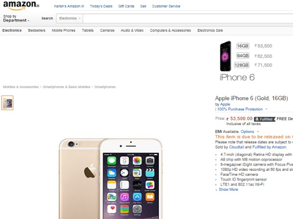 Amazon: Apple iPhone 6 (Gold, 16GB)