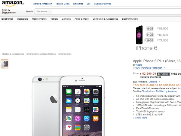Amazon: Apple iPhone 6 Plus (Silver, 16GB)