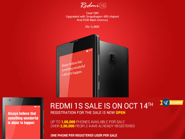 Xiaomi To Sell 1,00,000 Units Of Redmi 1S on Flipkart on October 14