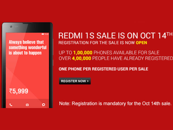 Xiaomi Redmi 1S Will Start Selling in India Today 2 PM Onwards