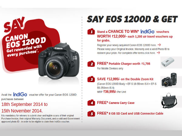 Canon Offers Wide Range of Offers On EOS 1200D DSLR Worth Rs 12,995