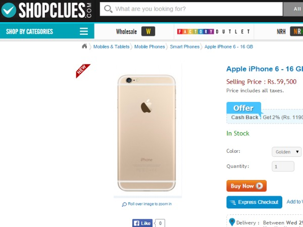 Shopclues: Apple iPhone 6 - 16 GB