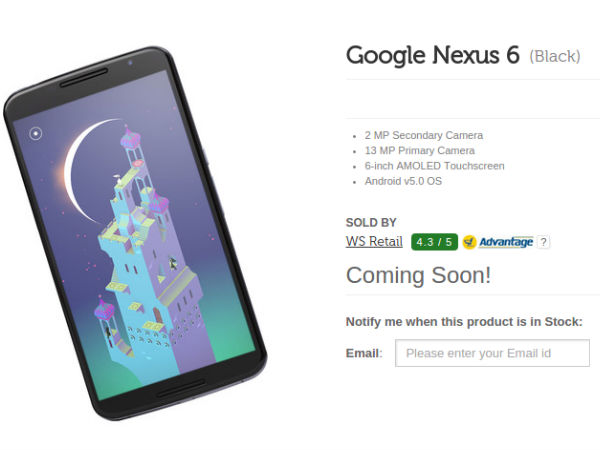 Google Nexus 6 'Coming Soon' On Flipkart
