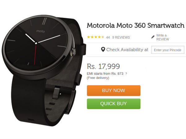 Motorola Moto 360 Smartwatch Now Available on Flipkart At Rs 17,999