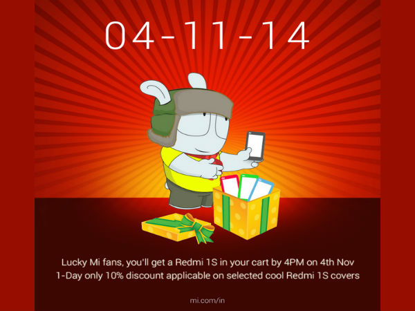 Xiaomi Redmi 1S Sale Begins Today on Flipkart at 2 PM