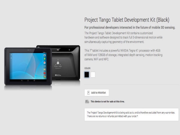 Google's Project Tango Visits Play Store: Might Go On Sale Soon
