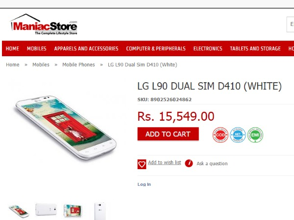 Buy At Price of Rs 15,549