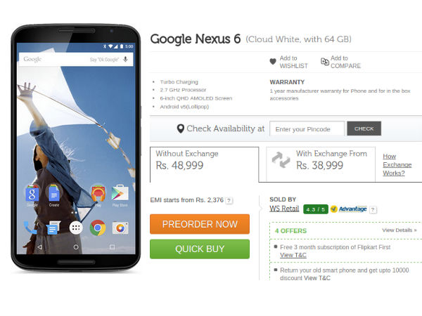 Google Nexus 6 Now Available for Pre-Order at Rs 43,999 in India