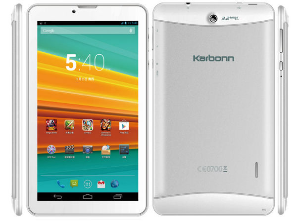 Karbonn ST72 Tablet With 7-inch Display Now Available for Rs 6,800