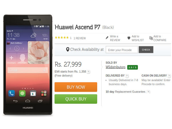 Huawei Ascend P7 Available In India at Rs 27,999