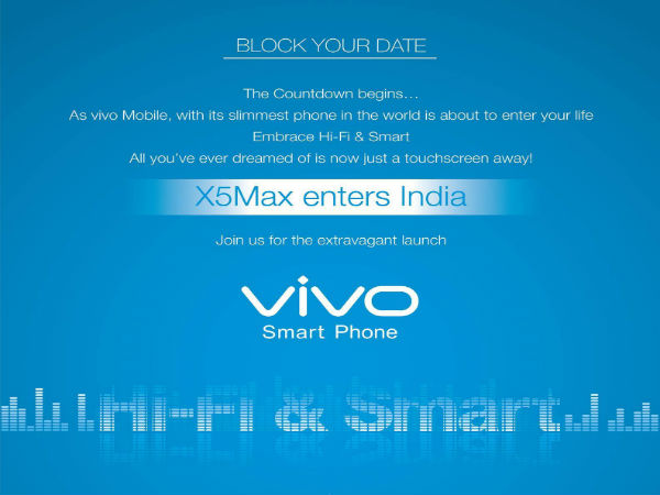 Vivo Invite Confirms X5 Max India Launch Event on December 15