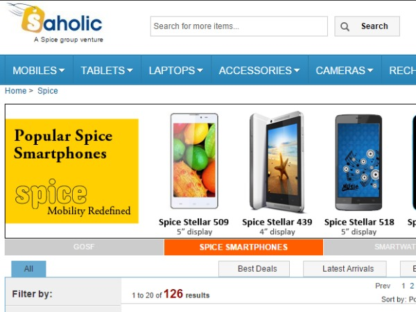 Upto 10% Off on Spice Smartphones