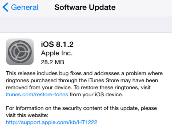 Apple Rolls-Out iOS 8.1.2 with Minor Bug Fixes