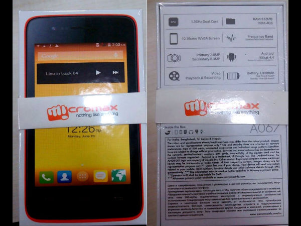 Micromax Bolt A067: Entry-Level Smartphone with KitKat Launched