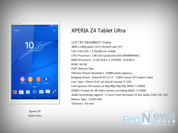 Xperia Z4 Tablet Ultra Tipped To Feature 13 Inch Display and 6GB RAM