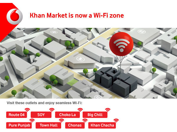 Vodafone offers Free Wi-Fi in Khan Market, New Delhi