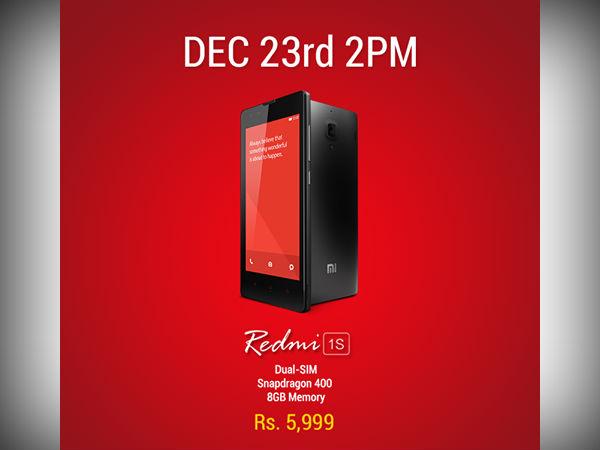 Xiaomi Redmi 1S Flash Sale Begins on December 23