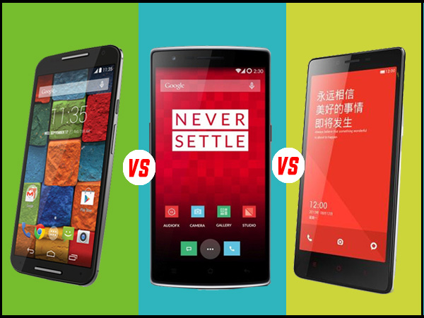 Motorola Moto X (2nd Gen) Vs OnePlus One Vs Xiaomi Redmi Note 4G