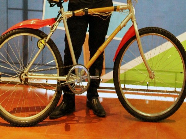Bamboo Bike Recharges Mobile Devices by Pedalling