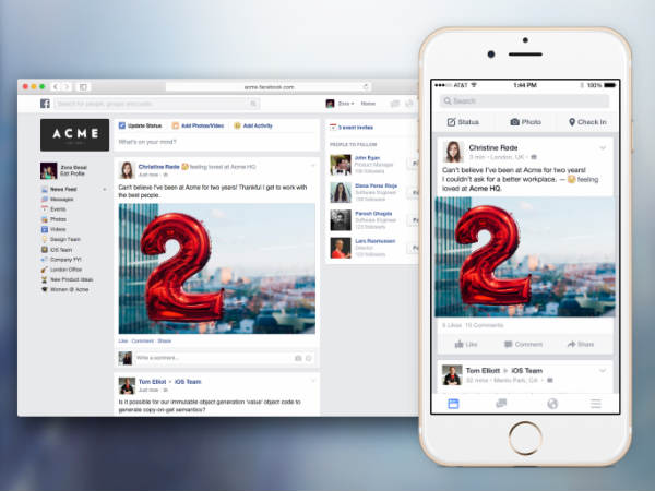 Facebook at Work Launched Testing of New iOS and Android Apps