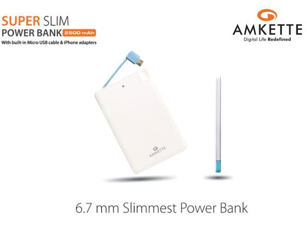 Amkette's Slimmest Power Bank with 2500mAh Launched for Rs 1,395