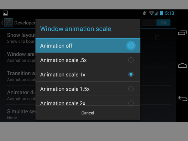 Disable/reduce animations