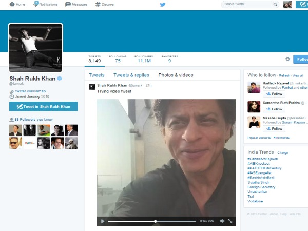 SRK becomes first Indian to use Twitter's Mobile Video Camera
