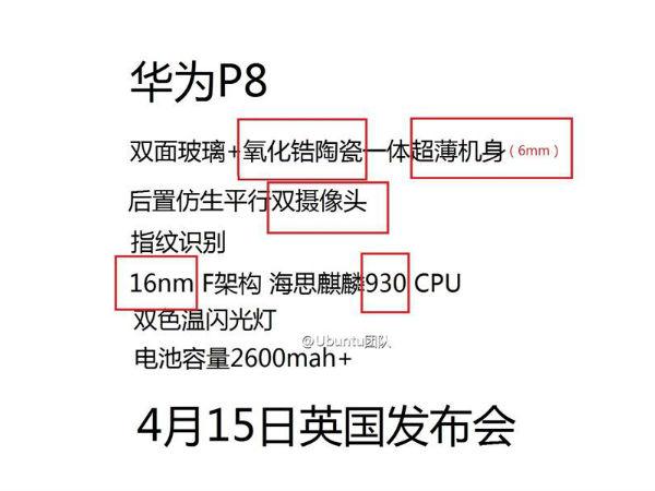 Huawei P8 Flagship Smartphone Details Leak Ahead of Anticipated Debut