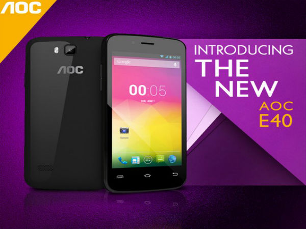 AOC Launches E40 Android Smartphone With 4-Inch Display For Rs 5,299