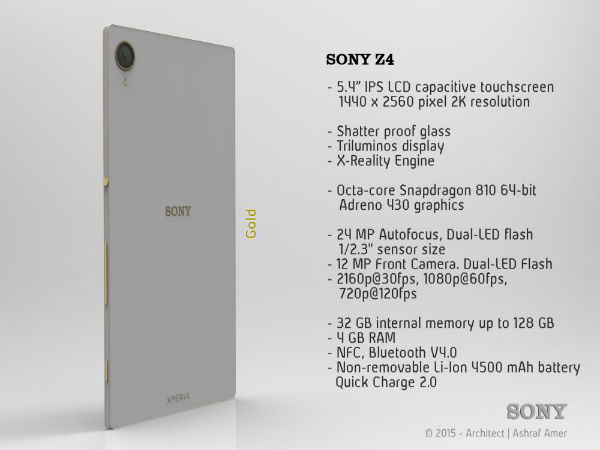 Sony Xperia Z4 Will Flaunt Slim Bezels And New Speaker Design