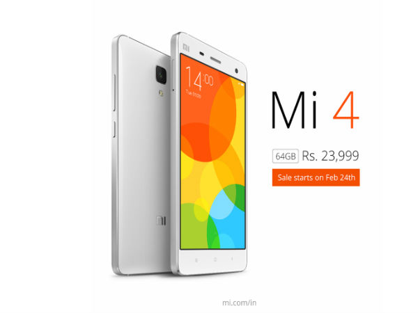 Xiaomi Mi4 64GB to go on sale in India from February 24