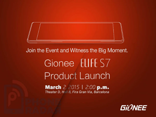 MWC 2015: Gionee Sends out Event Invites, to Launch Elife S7