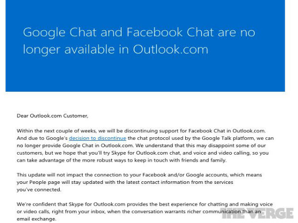 Microsoft To Discontinue Support For Google And Facebook Chat