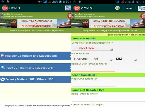 Railways Launches India's first Customer Complaint Mobile App