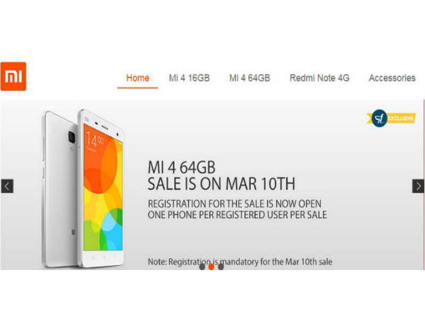 Xiaomi Mi 4 64GB to Go on Sale Tomorrow on Flipkart at 2PM