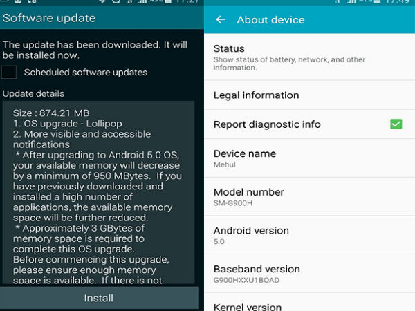 Samsung Galaxy S5 Gets Android Lollipop 5.0 Update in India