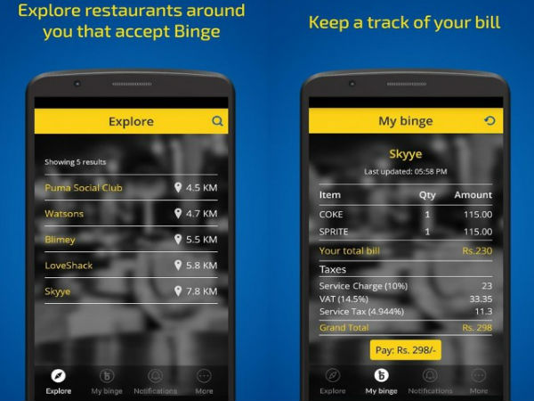 Go Cashless At Restaurants With BINGE!