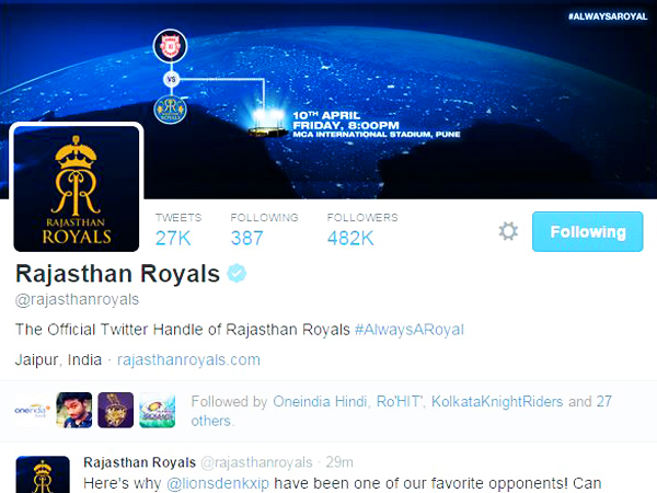 Official 'Rajasthan Royals' Page