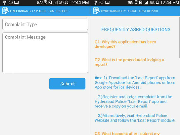 Mobile App for Reporting loss of Articles launched by Hyderabad Cops