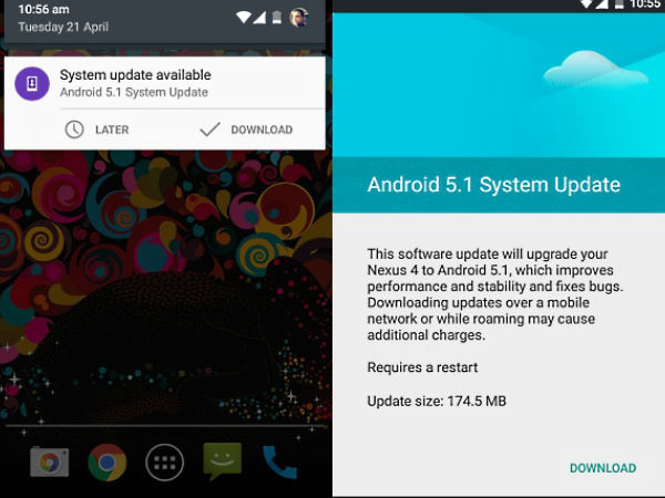 Android 5.1 Lollipop Update Rolled-out for Nexus 4 and Nexus 7