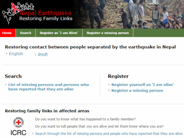 ICRC launches Website to Trace Missing Quake Victims