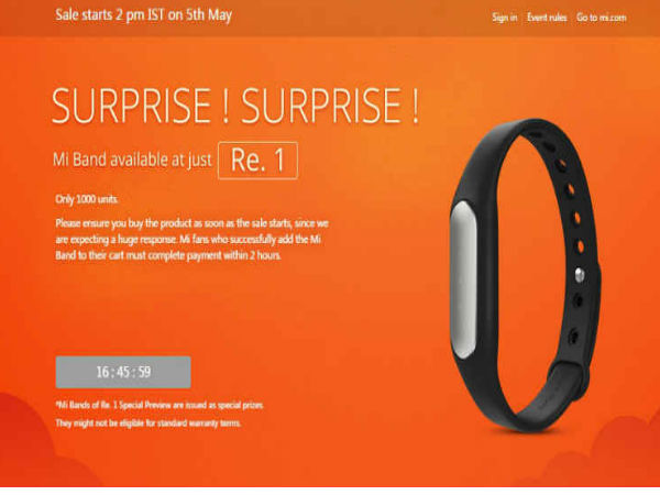 Xiaomi Mi Band to Go on Sale Today at 2:00PM