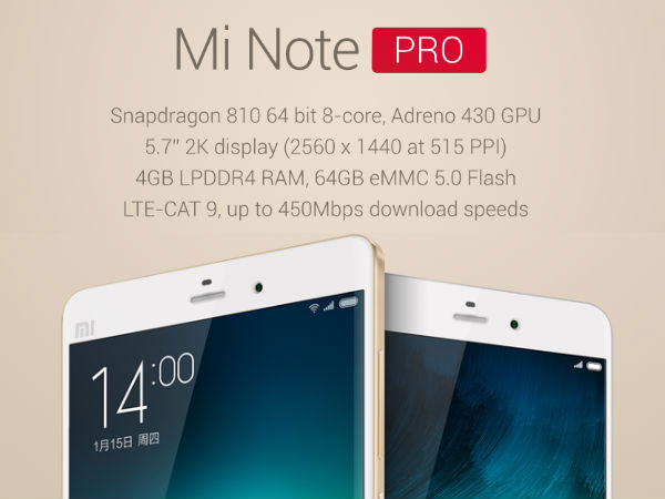 Xiaomi Mi Note Pro To Go on Sale in China on May 12