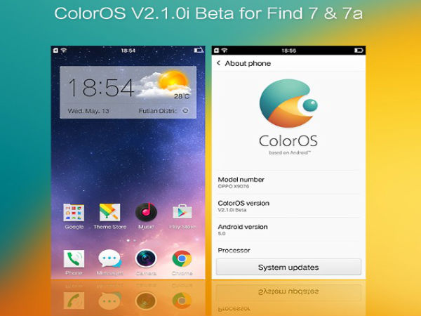 Oppo Revealed the Android 5.0 Lollipop Based ColorOS 2.1.0i Beta UI