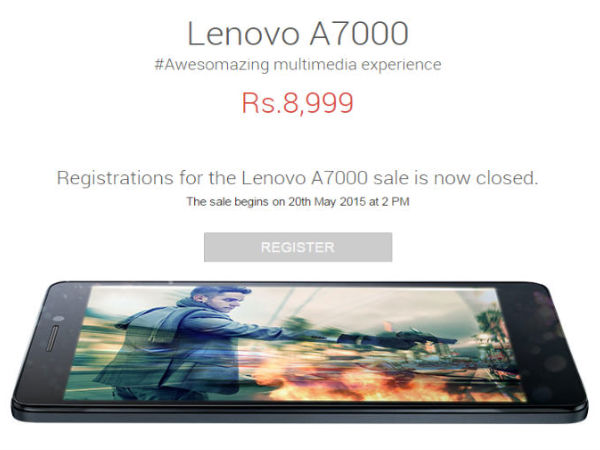Lenovo A7000 Went Out of Stock in Seconds in Today's Flash Sale